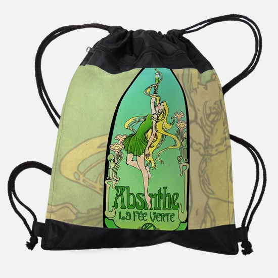 Absinthe Art Nouveau Drawstring Bag