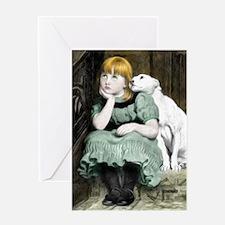 Dog Adoring Girl Victorian Painting Greeting Cards