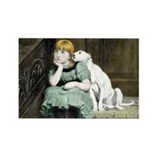 Dog Adoring Girl Art Painting Magnets