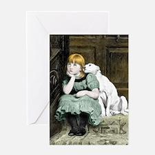 Dog Adoring Girl Art Painting Greeting Cards