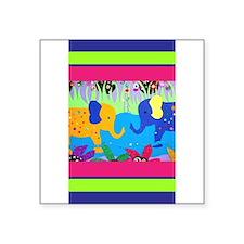 Colorful Elephants at Waterhole Sticker