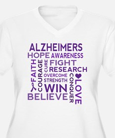 Alzheimers Support Word Cloud Plus Size T-Shirt