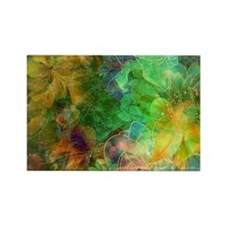 Colorful Abstract Floral Collage Magnets