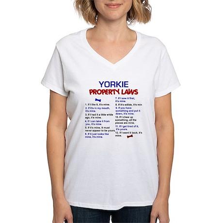 Yorkie Property Laws 3 Women's V-Neck T-Shirt