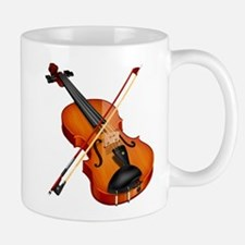 Beautiful Violin and Bow Musical Instrument Mugs