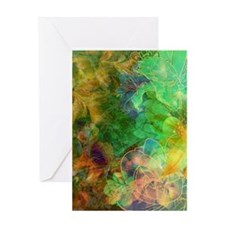 Colorful Abstract Floral Collage Greeting Cards