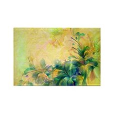 Yellow And Blue-green Abstract Floral Design Magne