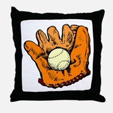 Vintage Baseball Glove Throw Pillow