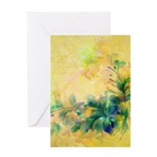 Yellow And Blue-green Abstract Floral Design Greet