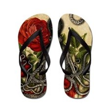 Tentacles And Roses Flip Flops