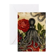 Tentacles And Roses Greeting Cards
