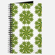 Native Green and Gold Star Round Journal
