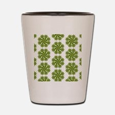 Native Green and Gold Star Round Shot Glass
