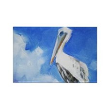 White Pelican Painting Magnets