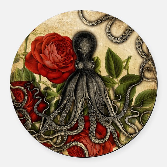 Tentacles And Roses Round Car Magnet