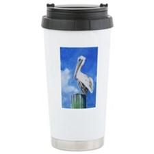 White Pelican Painting Travel Mug
