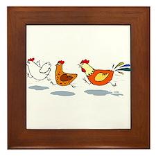 3 chickens Framed Tile