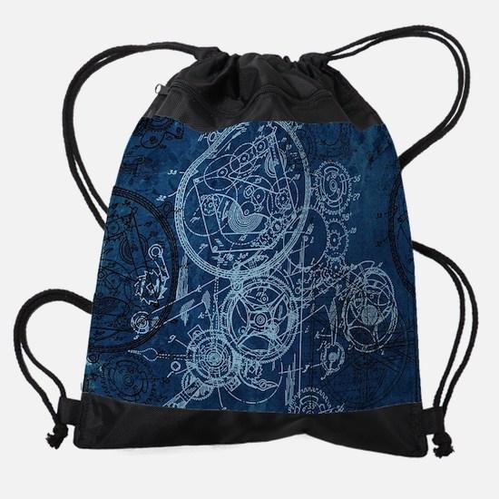 Clockwork Collage Blue Drawstring Bag