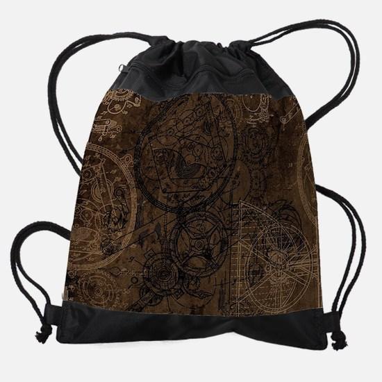 Clockwork Collage Brown Drawstring Bag
