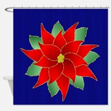 Brilliant Red Pointsettia Shower Curtain
