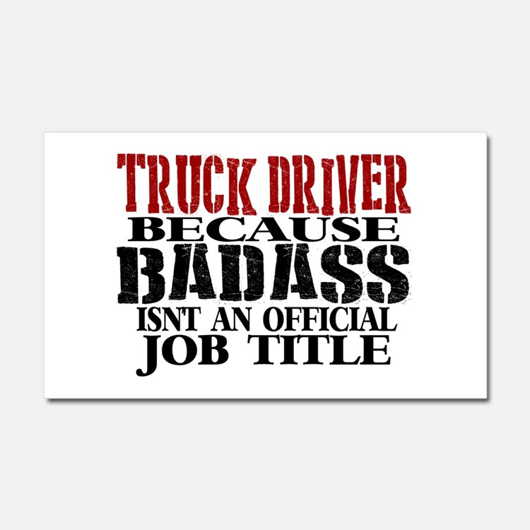 Badass Trucker Car Magnet 20 x 12