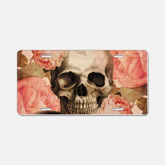 Vintage Rosa Skull Collage Aluminum License Plate