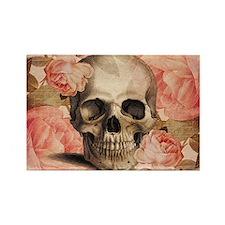 Vintage Rosa Skull Collage Magnets