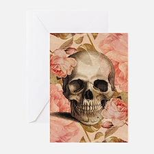 Vintage Rosa Skull Collage Greeting Cards