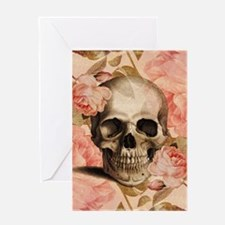 Vintage Rosa Skull Collage Greeting Cards