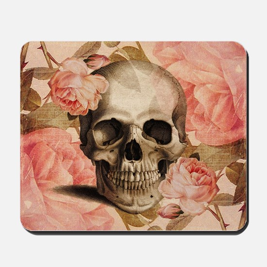 Vintage Rosa Skull Collage Mousepad