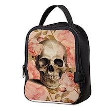 Vintage Rosa Skull Collage Neoprene Lunch Bag