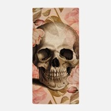 Vintage Rosa Skull Collage Beach Towel