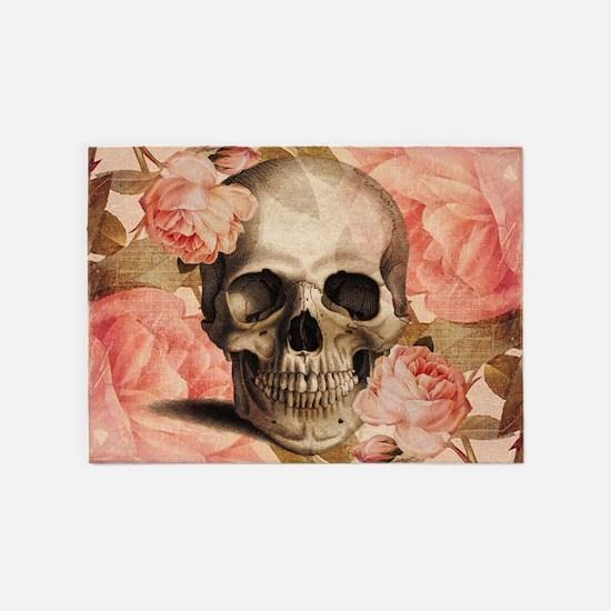 Vintage Rosa Skull Collage 5'x7'Area Rug