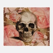 Vintage Rosa Skull Collage Throw Blanket