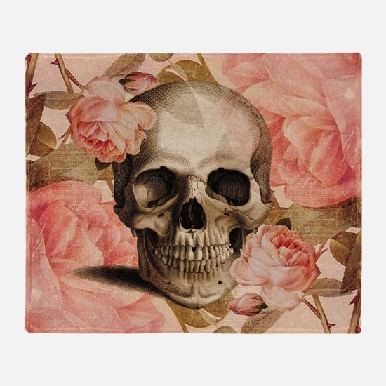 Vintage Rosa Skull Collage Throw Blanket