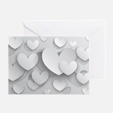 White Popup Hearts Greeting Card