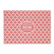 World's Best Mom White/Coral 5'x7'Area Rug