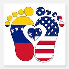 "Venezuelan American Baby Square Car Magnet 3"" x 3"""