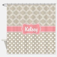Pink Beige Dots and Lattice Pattern Shower Curtain