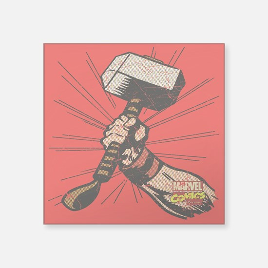 "Marvel Comics Thor Hammer R Square Sticker 3"" x 3"""