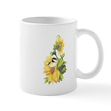 Chickadee Bird & Sunflower flower Watercolor Mugs