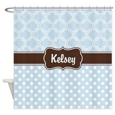 Brown Baby Blue Dots and Lattice Pattern Shower Cu