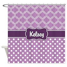 Purple Dots and Lattice Pattern Shower Curtain