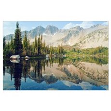 Reflections Of The Trees And Mountains In Blue Lak Poster