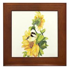 Chickadee Bird & Sunflower flower Watercolor Frame