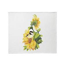Chickadee Bird & Sunflower flower Watercolor Throw