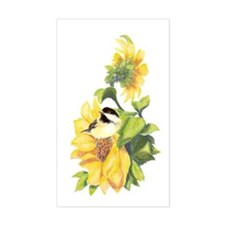 Chickadee Bird & Sunflower Flower Decal