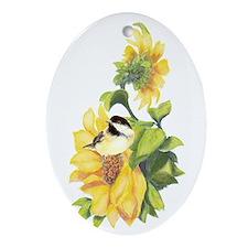 Chickadee Bird & Sunflower flower Watercolor Ornam