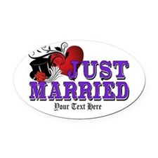 Just Married Oval Car Magnet