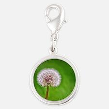 Dandelion Silver Round Charm